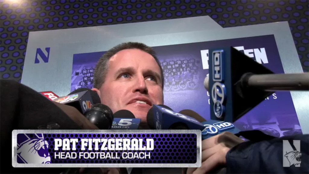 Coach Fitzgerald Says NUMB is part of the Northwestern football family. (Video image from NUsports.com)